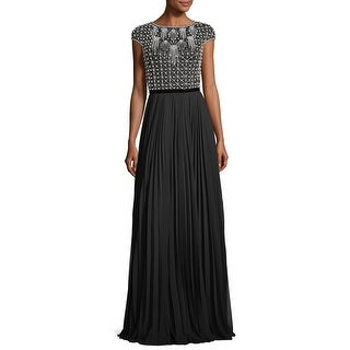 Theia Cap Sleeve Beaded Pleated Evening Gown Dress Black