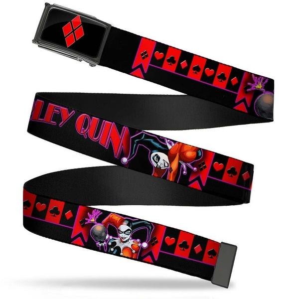 Harley Quinn Diamond Fcg Black Red Chrome Harley Quinn Bomb Poses Web Belt