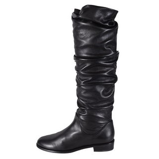 Stuart Weitzman Black Nappa Leather Scrunchy Knee High Flat Boots