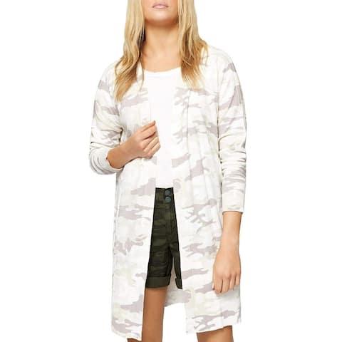 SANCTUARY Womens White Size Large L Camoflauge Print Cardigan Sweater