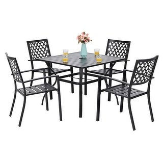 Link to PHI VILLA 5 Piece Patio Armrest Dining Chairs and Larger Square Table Set Similar Items in Dining Room & Bar Furniture