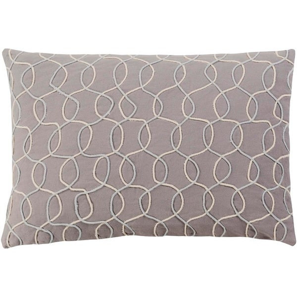 "19"" Medium Gray and Cream Contemporary Pattern Woven Knife Edge Throw Pillow"