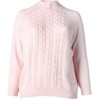 Karen Scott Womens Plus Pullover Sweater Cable Knit Mock Neck
