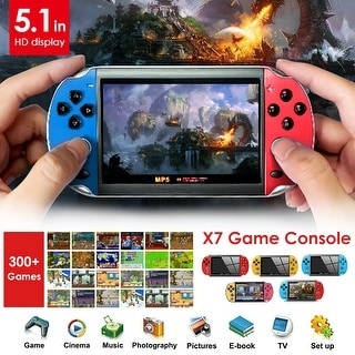 """Link to Coutlet X7 8G ROM PSP Console Hand Game Machine Console 5.1"""" Screen Free 300 Built-In Games - Red-Blue Similar Items in Hardware & Accessories"""