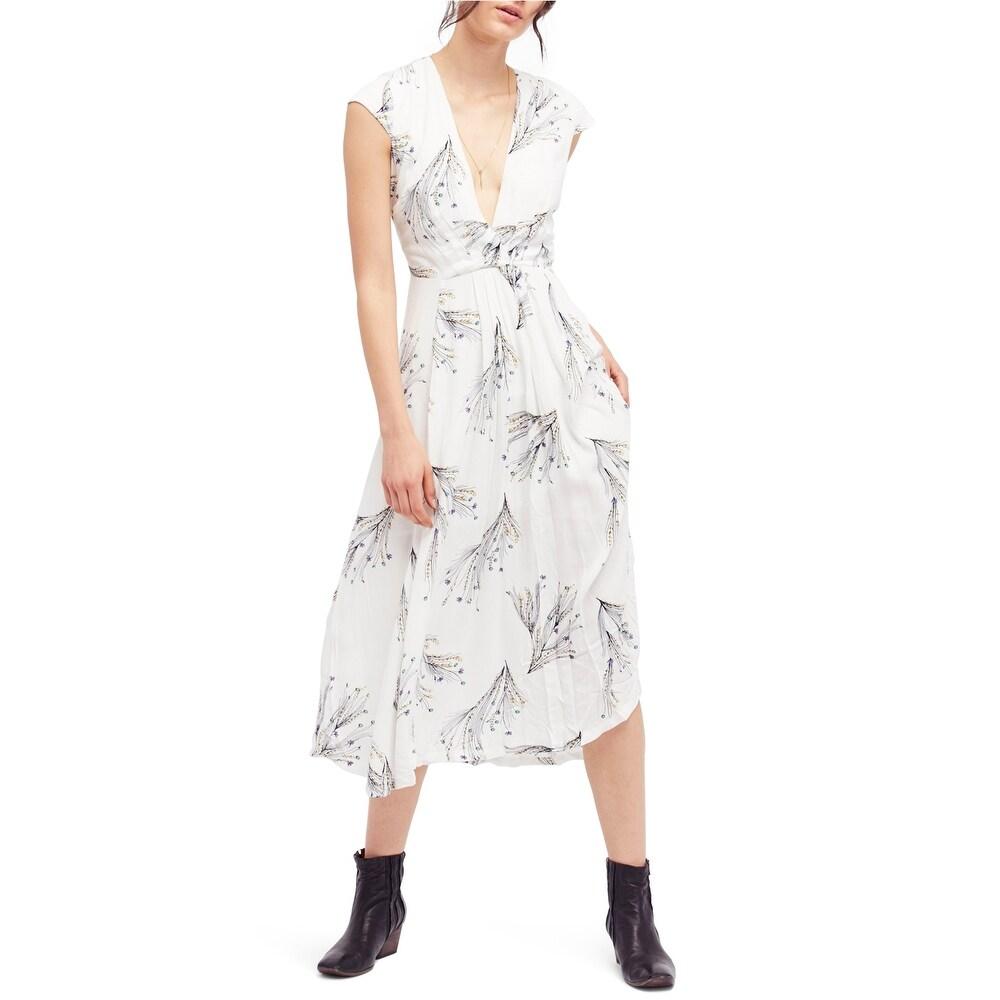 Free People Womens Printed Retro Faux-Wrap Midi Dress off-white 4