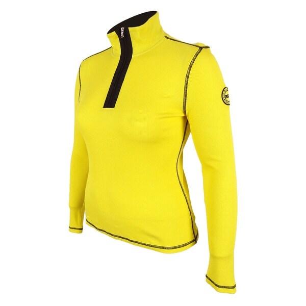Ralph Lauren Women's Active Long Sleeve Waffle Knit Top - Yellow - L