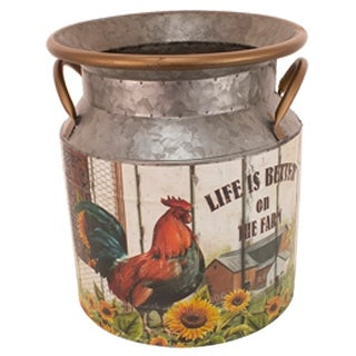 "9"" Rooster Designed Unique Galvanized Metal Round Bucket"