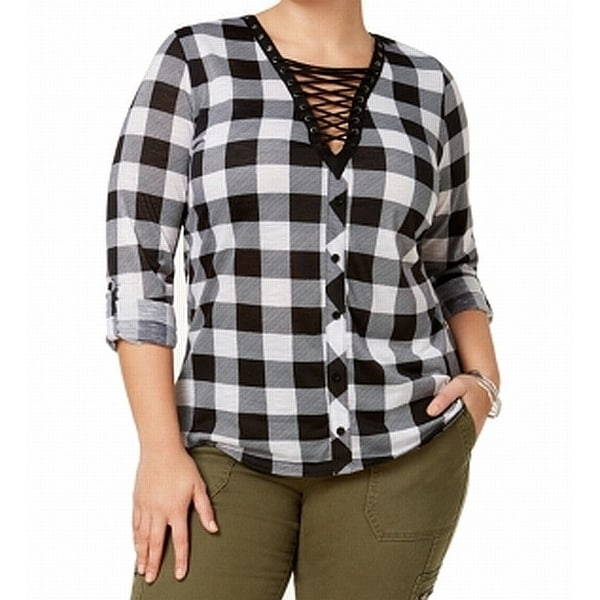 9650cb14e17 Shop Planet Gold Black White Womens Size 1X Plus Lace Up Plaid Top - On  Sale - Free Shipping On Orders Over  45 - Overstock - 27281130