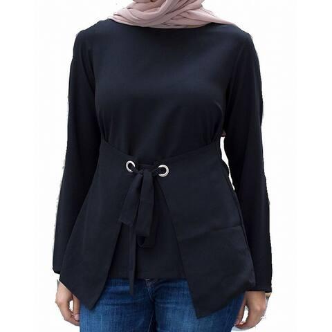 Verona Womens Blouse Deep Black Size XS Tie Belt Long Sleeve Stretch