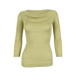 INC International Concepts Women's Metallic 3/4 Sleeve Cowl Neck Top