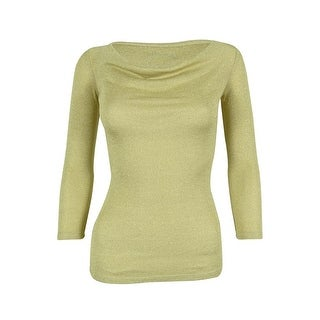INC International Concepts Women's Metallic 3/4 Sleeve Cowl Neck Top - GOLD