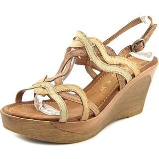 Napa Flex ATLANTA Women Open Toe Leather Brown Wedge Heel