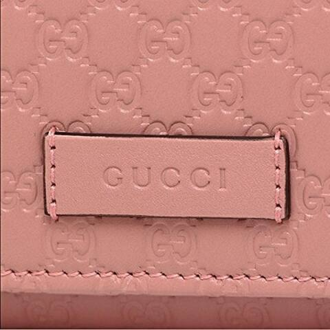 Gucci Women's Soft Pink GG Microguccissima Continental Wallet 449396 - M