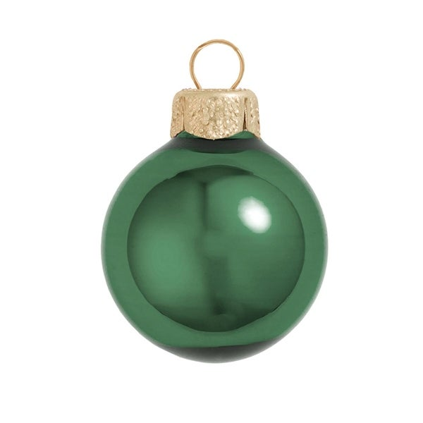 "40ct Shiny Emerald Green Glass Ball Christmas Ornaments 1.25"" (30mm)"