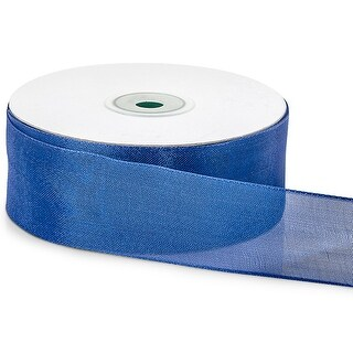 """Pack Of 1, Solid Royal Blue Wired Metallic Mesh Ribbon 1.5"""" X 25 Yards For Weddings, Christmas, Valentine's Day & Florists"""