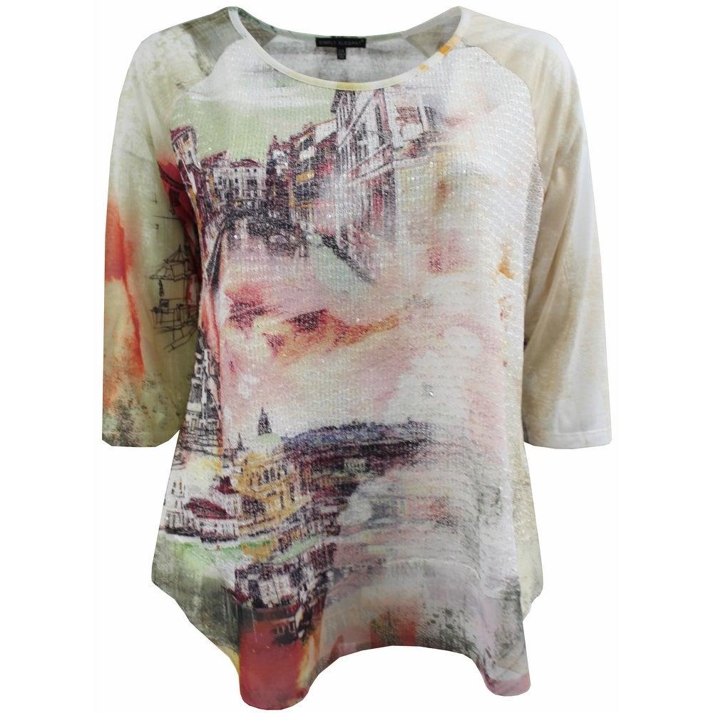 Women Plus Size Venice Cityscape Knit Top Tee Blouse Shirt Multi 170.18