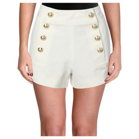 Derek Lam 10 Crosby Womens High-Waist Shorts Embellished High-Waist - Soft White - 4