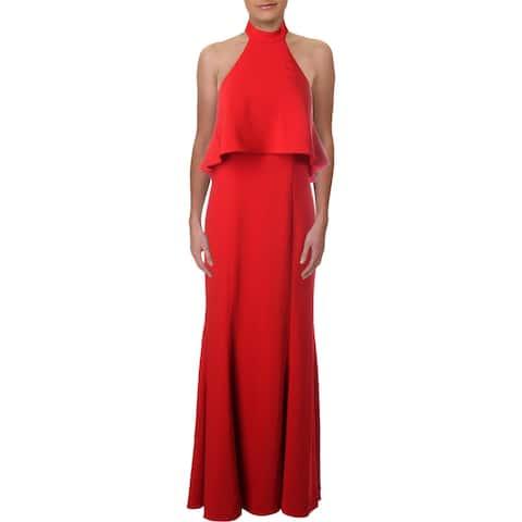 Xscape Womens Petites Evening Dress Halter Ruffled