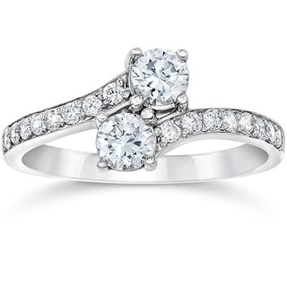 14K White Gold 1.3ctw 2-Stone Engagement Anniversary Ring 8mm Wide - N/A