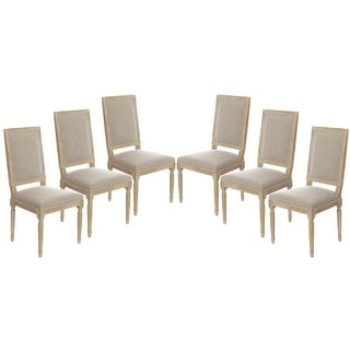 Set of 6 Vintage French Square Upholstered Side Dining Chairs