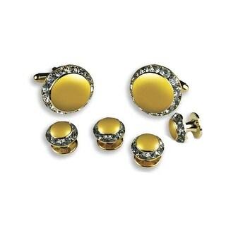 Crystal Cufflinks with Lemon Center - YELLOW