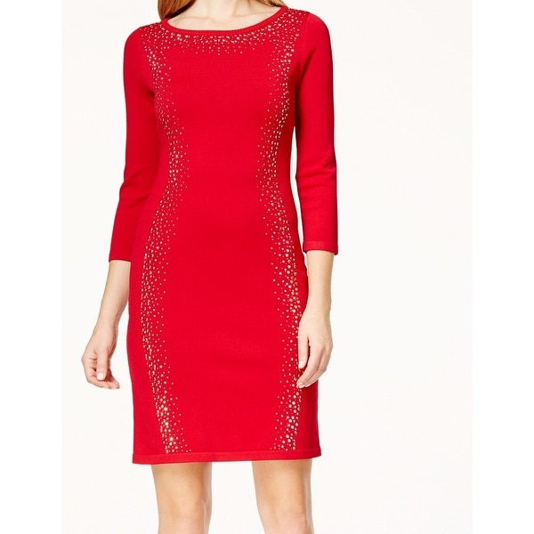 Calvin Klein NEW Red Women's Size Small S Embellished Sweater Dress