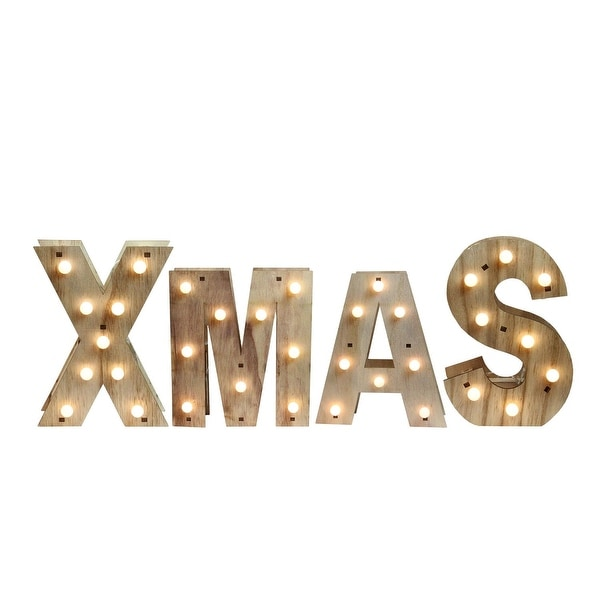 """26.5"""" Battery Operated Wooden """"XMAS"""" LED Lighted Wall Decoration"""