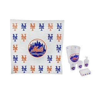 New York Mets Frosted Finish 7 Piece Bath Set - CLEAR