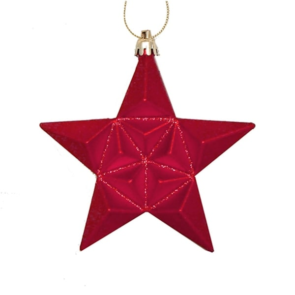 12ct Matte Red Hot Glittered Star Shatterproof Christmas Ornaments 5""