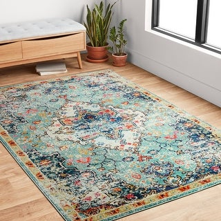 Link to Alexander Home Vintage Boho Floral Medallion Distressed Rug Similar Items in Rugs