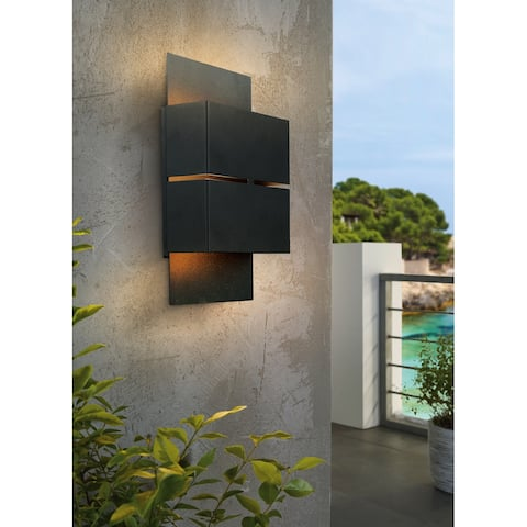 Eglo Kibea 2-light Matte Black LED Outdoor Wall Light