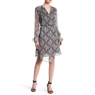 Joe Fresh Gray Womens Size Small S Snake-Print Surplice A-Line Dress