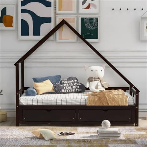 [PRE-SALE]AOOLIVE Full Size Daybed Wood Bed with Two Drawers