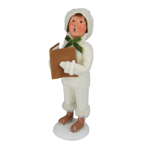 "10"" Decorative Winter White Family Boy Caroler Christmas Table Top Figure - N/A"