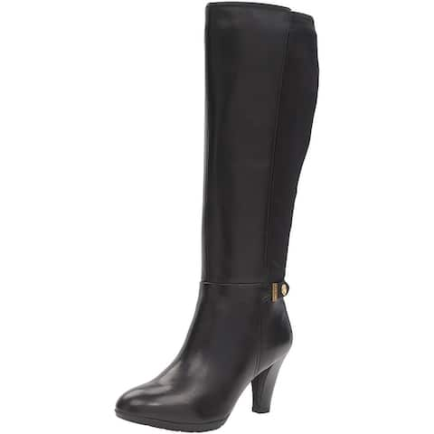Anne Klein Womens Delray Leather Almond Toe Knee High Fashion Boots