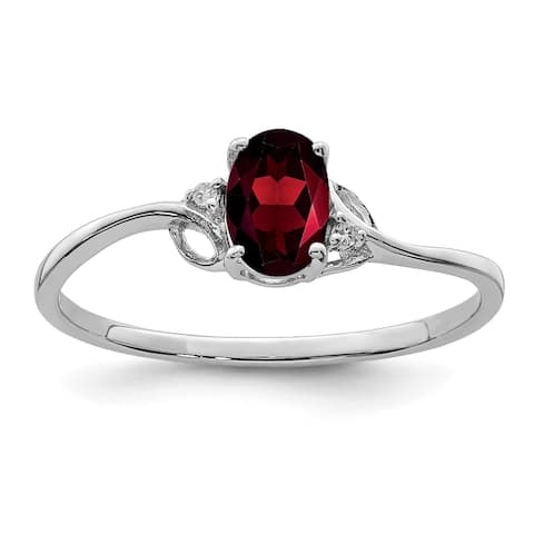 Sterling Silver Rhodium-plated Diamond and Garnet Oval Ring by Versil