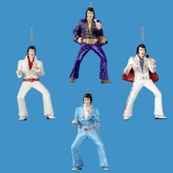 """Club Pack of 12 Elvis Presley Jumpsuit Christmas Ornaments 4.5"""""""