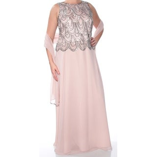 Womens Pink Sleeveless Full-Length Fit + Flare Evening Dress Size: 14