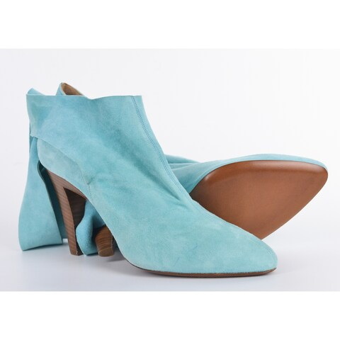 Roberto Cavalli Light Blue Suede Bow Ankle Strap Bootie