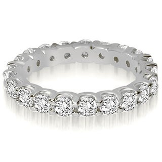 14K White Gold 1.40 cttw. Round Cut Shared Prong Diamond Eternity Wedding Ring HI,SI1-2