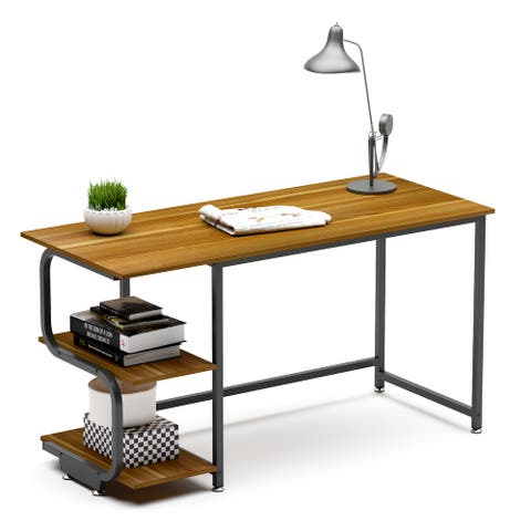 Teraves 120/140 CM Reversible Panels Wood and Steel Computer Desk with S-Shaped Bookshelves
