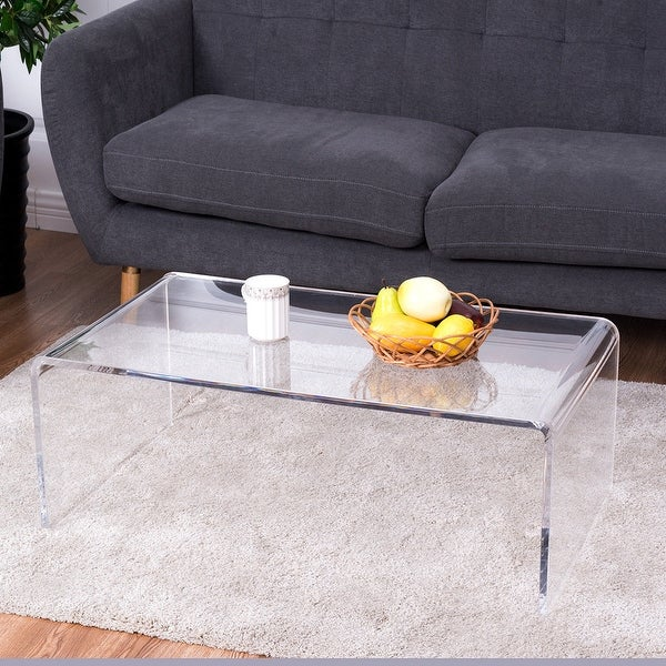 Costway Clear Acrylic Coffee Table Tail Waterfall 37 X 21 14 Inch Home Decor