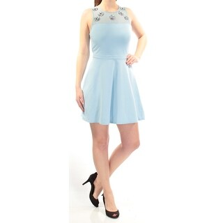 Womens Light Blue Sleeveless Knee Length Fit + Flare Dress Size: M