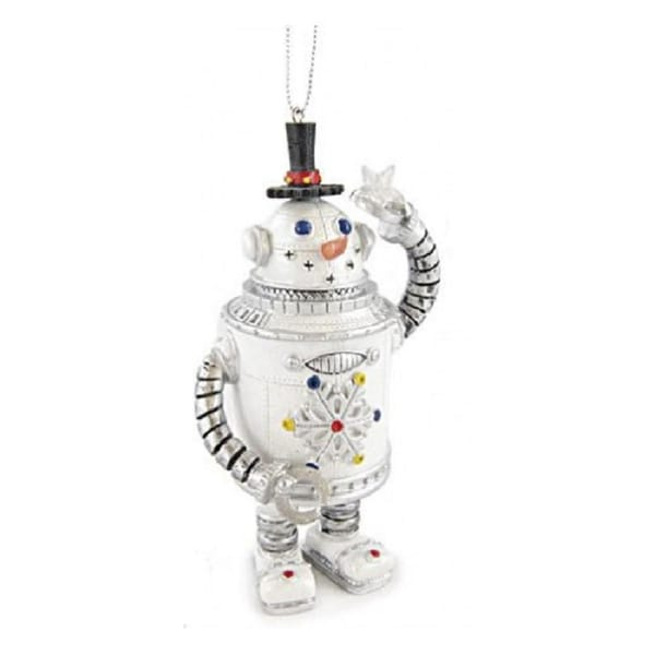 "5"" Amusements Retro Vintage Snowman Robot Christmas Ornament"