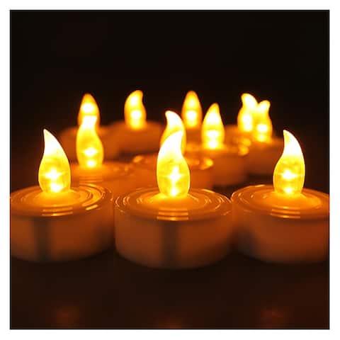 AGPtek 100 Battery Operated LED Amber Flameless Flickering Flashing Tea Light Candle - SIZE