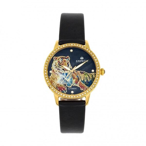 Empress Diana MOP Leather-Band Watch - Black