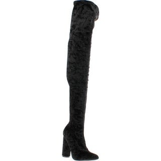 Cape Robbin Paw-27 Crushed Velvet Stretchy Pointy Toe Thigh High Over Knee Block Heel Boot - Black