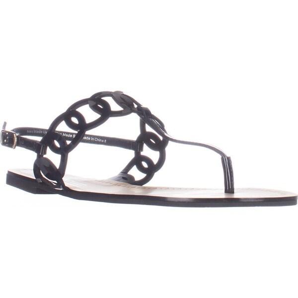 Daya by Zendaya Mallory Flat Thong Sandals, Black Patent