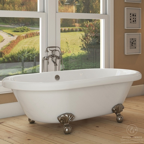 Pelham White Luxury 72 Inch Clawfoot Tub With Nickel Ball And Claw Feet