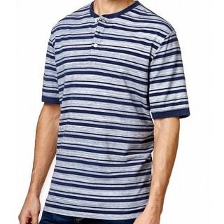 WEATHERPROOF NEW Navy Blue Mens Size Medium M Striped Henley Shirt